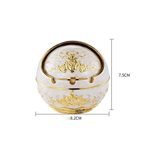 Ashtrays Phnom Penh Gold Flower Retro Creative Zinc Alloy Spherical Covered Fashion Ideas Home Desk DELICATEWNN (Size : 8.28.27.5cm)