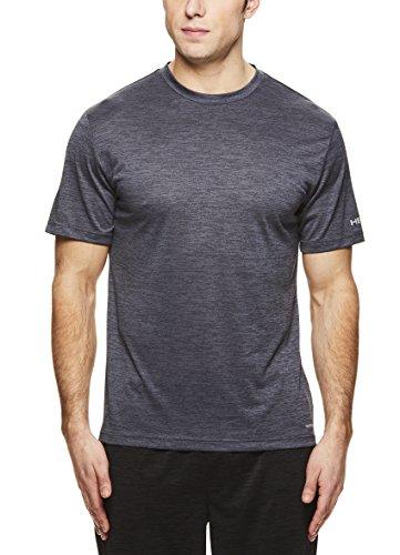 HEAD Men's Court Hypertek Crewneck Gym Training & Workout T-Shirt - Short Sleeve Activewear Top - Court Ebony Heather Black, Medium