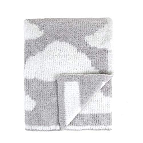 Tadpoles Ultra-Soft Chenille Knit Baby Blanket, Grey/White