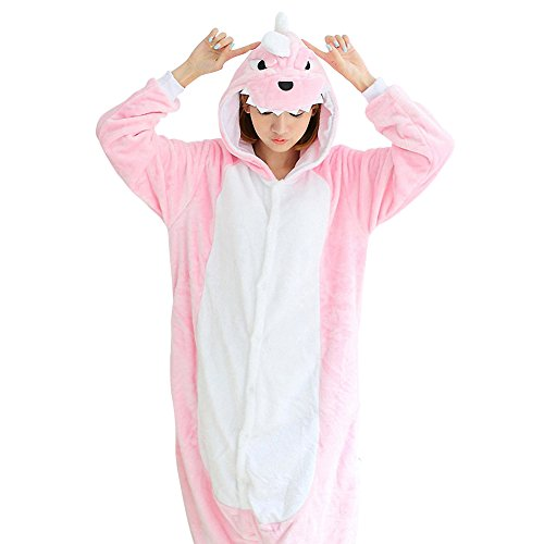 Zhongyu Kigurumi Pajamas Couples Sleepwear Cosplay Costume Plush Onesie Dinosaur (M, Pink) (Couples Cosplay Costumes)