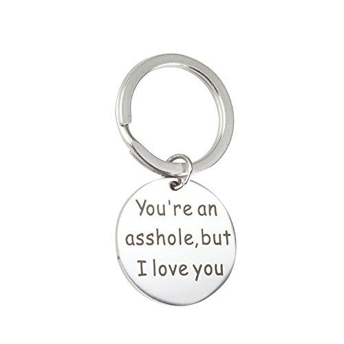 Meiligo Boyfriend Girlfriend Gift Key Chain You`re my favorite asshole Necklace Key Chain Pendant (I Love You - Key Chain) (Key Love Necklace)