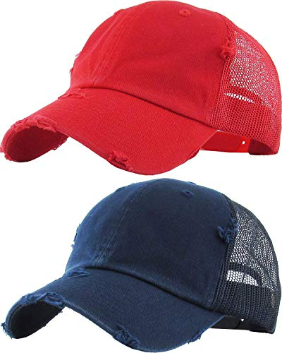 H-6140-2-K3142 Trucker Hat 2-Pack: navy & red - Leather Distressed Red