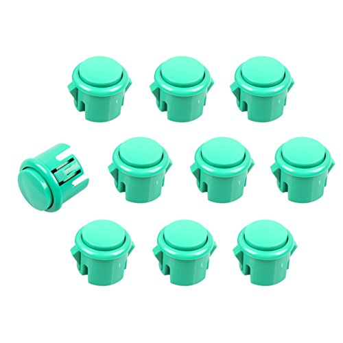 EG STARTS OEM 10x Arcade 30mm Push Buttons Switch DIY for Arcade Fighting Stickers Mame Jamma PC Games - Green