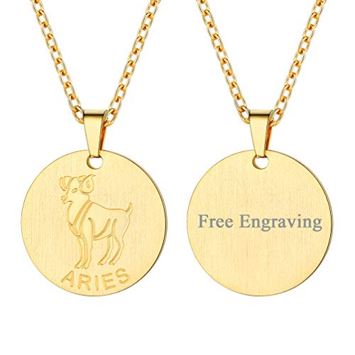 FaithHeart Engraving Astrology 12 Constellation Horoscope Necklace, 18K Gold Plated Aries Zodiac Star Sign Coin Pendant Necklace Birthday Gifts Lucky Charms Layered Necklace (Gold) ()