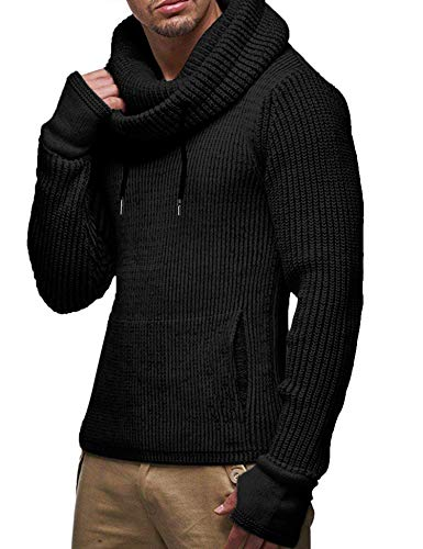 - COOFANDY Men's Knitted Cotton Pullover Hoodie Long Sleeve Turtleneck Sweater