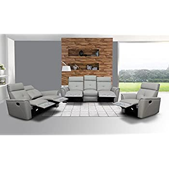 ESF 8501 Recliner Sofa Living Room Set 3Pcs Chic Light Grey Italian Leather