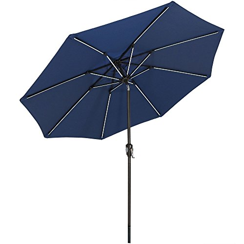 Sunnydaze 9-Foot Spun-Poly Market Umbrella with Tilt and Crank, Solar LED Lightbars, Aluminum, Navy Blue by Sunnydaze Decor