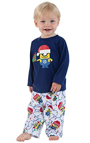PajamaGram Officially Licensed Minion Holiday Fleece Toddler and Infant Pajamas
