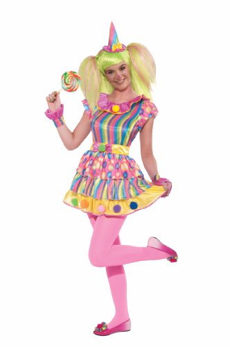 (Forum Novelties Teenz Big Top Clown Hat and Jumpsuit, Multi-Colored, Teen Standard Costume)