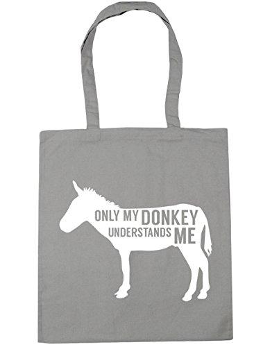 HippoWarehouse solo My Donkey entiende me Tote Compras Bolsa de playa 42cm x38cm, 10litros gris claro