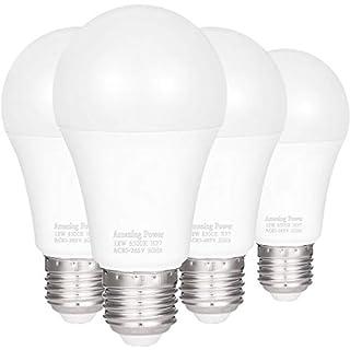 100W Equivalent E26 E27 LED Bulbs A19, AMAZING POWER Daylight White Non-Dimmable Medium Screw Base Light Bulbs 6500K, 4-Pack