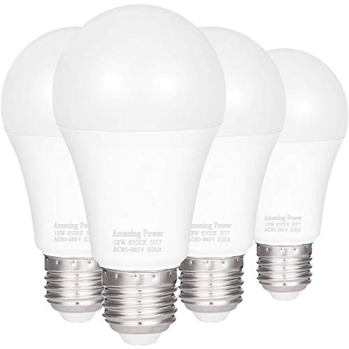 - 100W Equivalent LED Bulbs A19, AMAZING POWER Daylight White Non-Dimmable Medium Screw Base Light Bulbs 6500K, 4-Pack
