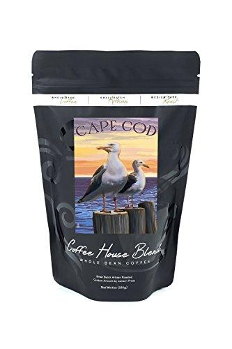 Cape Cod, Massachusetts - Seagulls (8oz Whole Bean Small Batch Artisan Coffee - Bold & Strong Medium Dark Roast w/ Artwork) (Sea Gull Cape)