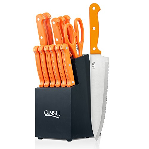 Ginsu Essential Series 14-Piece Stainless Steel Serrated Knife Set – Cutlery Set with Orange Kitchen Knives in a Black Block, - Orange Block In The