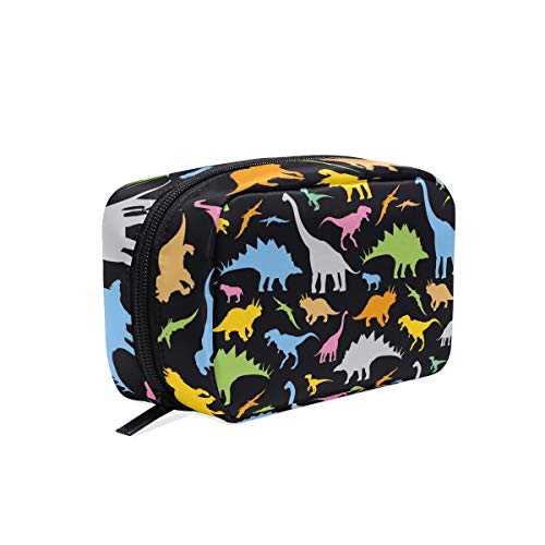 ZZKKO Colorful Cute Animal Dinosaur Cosmetic Bag Train Case Toiletry Organizer Travel with Compartments, Makeup Bag Zipper Pouch for Teen Girls Women Small Purse