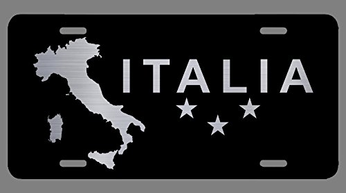 Italian Flag For Car Black Laser Etched Metal License Plate Decorations Italy Flag Pride Decor Italian Gift Italy Gifts | Premium Quality | 12-Inch By 6-Inch | ()