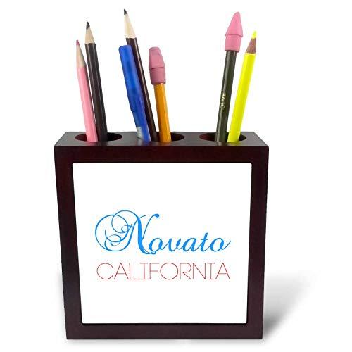 3dRose Alexis Design - American Cities California - Novato, California, red, Blue Text. Patriotic Home Town Design - 5 inch Tile Pen Holder (ph_302752_1) -