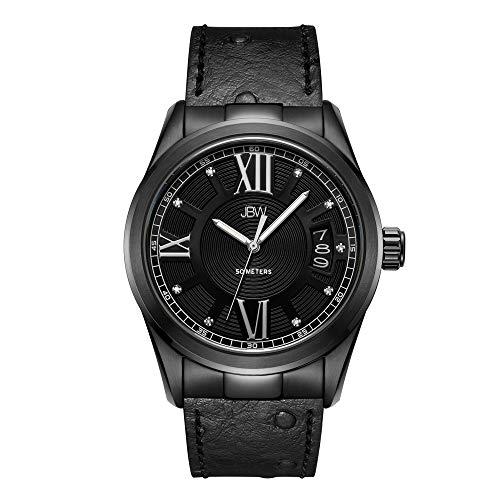 - JBW Luxury Men's Bond J6372E 0.09 Karat Diamond Wrist Watch with Genuine Leather Bracelet