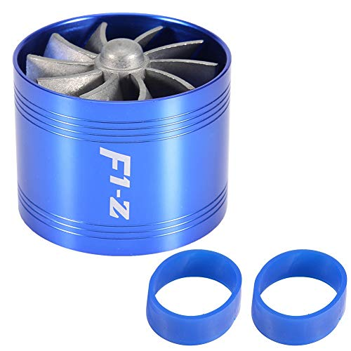 Supercharger Turbine Turbo, Fydun Car Air Intake Turbonator Single Fan Turbine Super Charger Gas Fuel Saver Turbo 64mm(Blue):