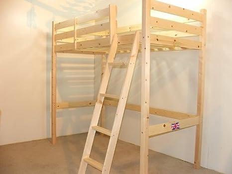 Loft litera Cama – 2 pies 6 pequeño Individual de Madera Alta Cama litera – Escalera Puede IR a la Izquierda o Derecha – Incluye colchón de muelles de 15 cm: Amazon.es: Hogar