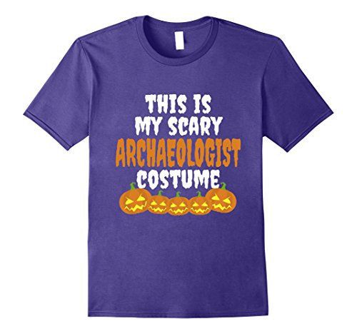 Archaeologist Costume Male (Mens My scary Archaeologist costume funny Halloween t shirt Large Purple)