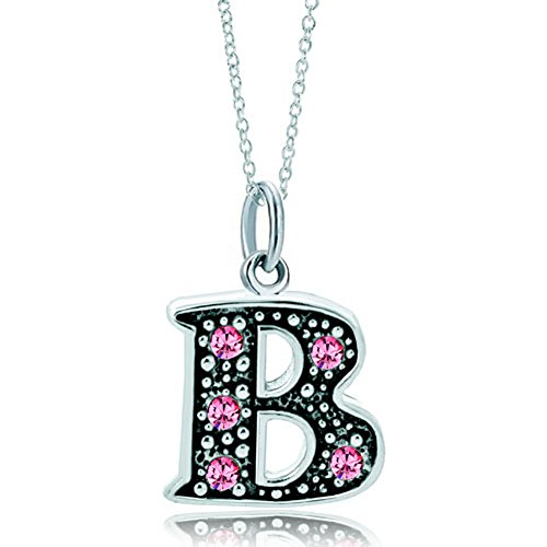 LovelyJewelry Pink Letter B Alphabet Initial Charms Bead Necklace Pendant