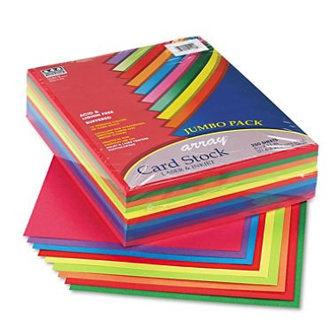 Array Card Stock, 65 lbs., Letter, Assorted Lively Colors, 250 Sheets/Pack, Sold as 250 - Array Cardstock Pacon