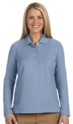 Devon & Jones Ladies' Pima Piqué Long-Sleeve Polo L Slate Blue