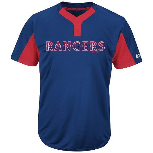 (Majestic Blank Back Adult Large Texas Rangers 2-Button Placket Cool-Base MLB Licensed Jersey)