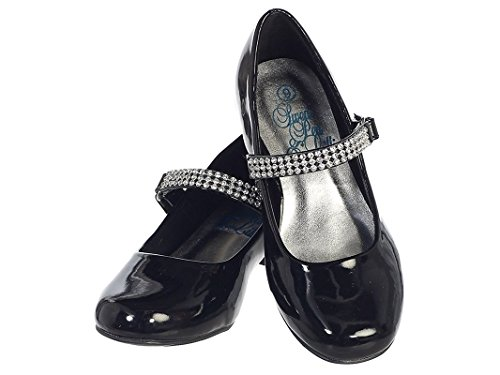 Price comparison product image Girls Low Heel Girls Dress Shoe with Rhinestone Strap (1, Black Patent)
