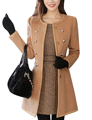 Tanming Women's Casual Crew Neck Wool Blend Double Breasted Pea Coat Trench Coat (Camel, X-Small)