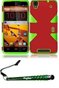 FoxyCase(TM) FREE stylus AND For ZTE Max N9520 Dynamic Slim Hybrid Cover Case - Red+Neon Green cas couverture