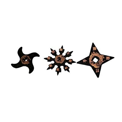 Playwell Martial Arts Childrens Black Rubber Training Ninja Stars (Set Of 3)