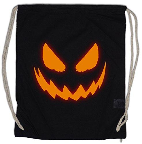 GLOWING HALLOWEEN PUMPKIN I Drawstring Bag Gym Sack Kürbis Horror Verkleidung glüend leuchtend Trick or Treat Samhain USA Creature Splatter Gore ()