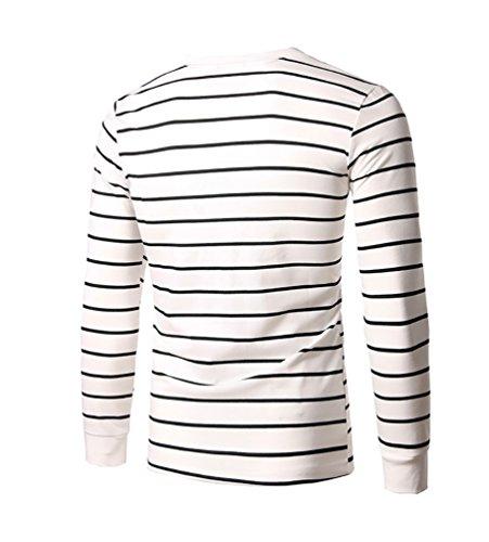 ZhiyuanAN Uomo a maniche lunghe t-shirt casual slim fit girocollo striscia camicia Top Bianco XL