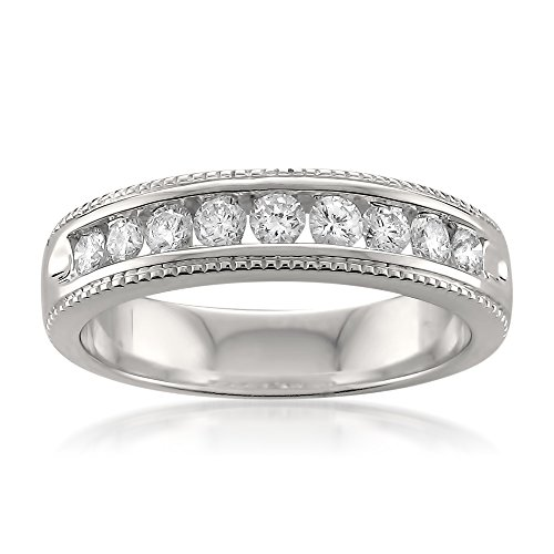 Platinum Round Diamond Milgrain Vintage Bridal Wedding Band Ring (1/2 cttw, H-I, VS2-SI1), Size -