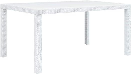Youwend Garden Table White 150x90x72 Cm Plastic Rattan Look
