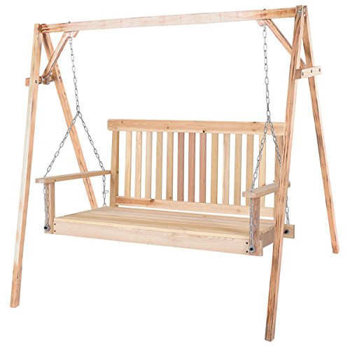 Garden Swing Seat (4' Wood Garden Hanging Seat Chains Porch Swing - By Choice Products)