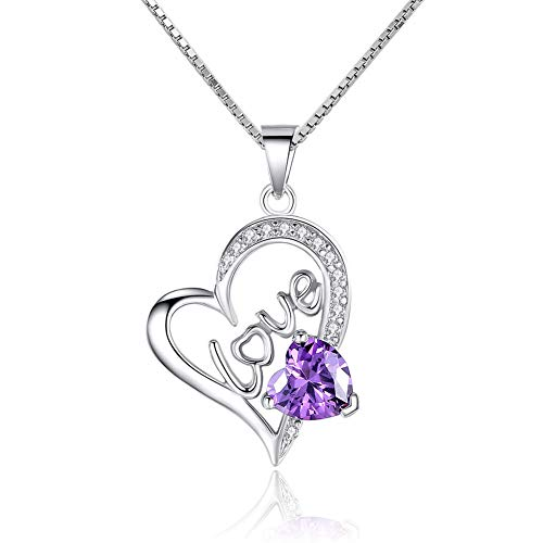Moonlight Collections Open Purple Heart Necklace Love February Birthstone Accent 925 Sterling Silver Pendant Charm ()