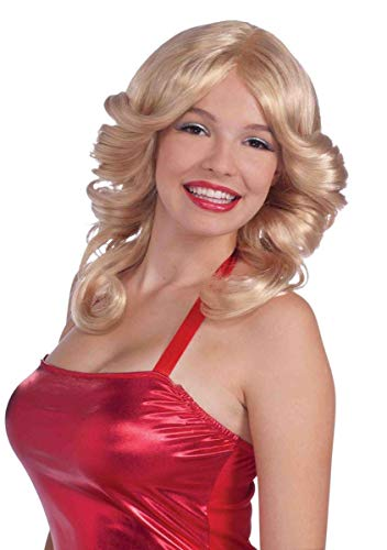 Forum Novelties Women's 70's Disco Angel Farrah Costume Wig, Blonde, One Size