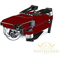 SopiGuard Wine Red Carbon Fiber Precision Edge-to-Edge Coverage Vinyl Skin Controller Battery Wrap for DJI Mavic Pro