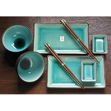 Japanese 8 Pc Plate, Rice Bowl & Wasabi Set with Chopsticks