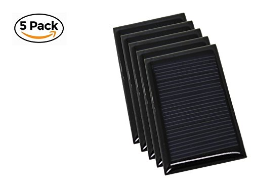 Solar Panel Mini Cell DIY - 5 Pack Best for Small Projects - Mono-crystalline Silicone Efficient Dynamic Output Voltage and Great Weak Light Effect (5V 30mA) 53x30 by 2olarwerk2