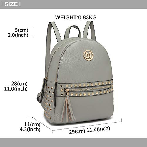 front Miss Leather Pu Handle Logo with detail Shoulder Pouch Lulu Studded Zipper hole Grab Bag Women Handbags Fashion Grey M Backpack Tq4AfT