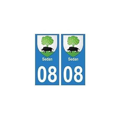 08 Sedan autocollant plaque ville département - droits Fournitures de bureau