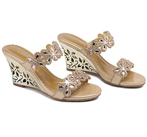 Des Sandales 40eu Mi Avec Cuir Pantoufles Été talon Diamants Les Portent Nouveau gold Strass En Hrn Et Femmes Élégantes Style Pantoufle w6qq4