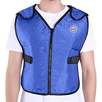 Climafusion Cooling Vest for Women & Men Adjustable Ice Vest Breathable Comfort Psyctic Vest Gear for Women & Man for Fishing Cycling Running Cooking Wearer Stays Cool and Dry (L/XL, Blue)