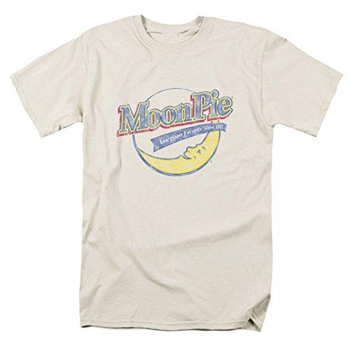 Moon Pie Men's Distressed Retro Logo T-shirt Cream