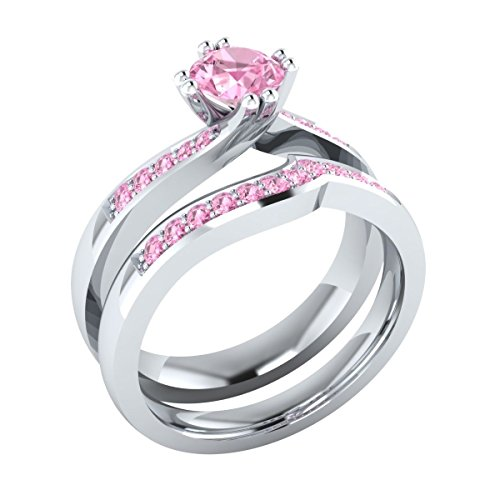 (Awesome 0.65 cttw Round Created Light Pink Sapphire Wedding Band Engagement Bridal Ring Set 18k White Gold Plated)