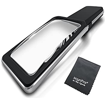 MagniPros 3X Large Wide Horizontal Handheld Magnifying Glass Reading Magnifier with 10 Ultra Bright Dimmable LED Lights- Large Viewing Area Ideal for Small Prints, Book, Newspaper, Maps, Low Vision